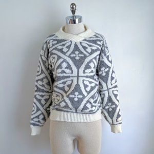 vintage 80's scroll pattern pullover sweater